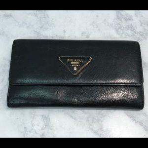 Authentic Prada Saffiano Black Nero Wallet